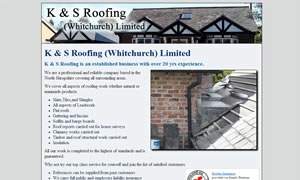 K and S Roofing website image