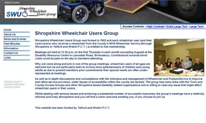 Shropshire Wheelchair Users Group website image